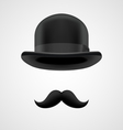 boss gentleman with moustaches and bowler hat vector image