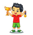 boy win the contest earn trophy and medal vector image vector image