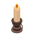 burning candle icon isometric style vector image vector image