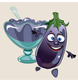 cheerful cartoon eggplant and vase with jam vector image