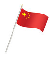 china flag and stick on a white background vector image