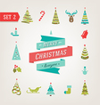 Christmas retro icons logo elements vector image vector image