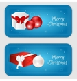 Christmas vertical banner in blue with snowflakes vector image vector image