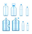 collection realistic plastic bottles vector image