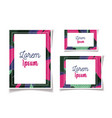 colored foliage frame floral wedding cards vector image vector image