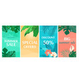 colorful summer sale backgrounds with tropical vector image vector image