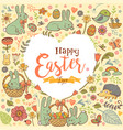 cute easter festive frame in the form of heart vector image vector image
