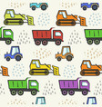 cute kids pattern with flat color dozer tractor vector image vector image