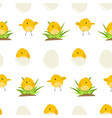 cute pattern with cartoon yellow chickens vector image vector image