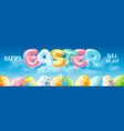 easter banner with balloons letters vector image vector image
