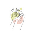 female hands with branch leaf and abstract vector image vector image