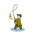 fisherman fly fishing reeling fish vector image vector image