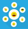 flat icon emoji set of happy cross-eyed face vector image vector image