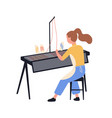 funny girl using loom and weaving cloth isolated vector image