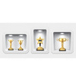 golden cups awards stand light boxes gallery vector image