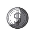 grayscale silhouette of money coin icon vector image vector image