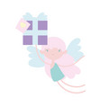happy valentines day cute cupid with gift box vector image vector image