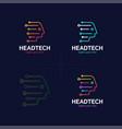 head tech logo robotic technology logotype vector image vector image