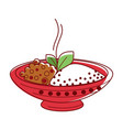 hot lamb curry with riceand herbs in big bowl vector image vector image