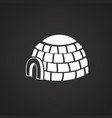 ice block house on black background vector image vector image