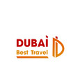 icon of letter d for dubai travel company vector image