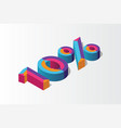 isometric 10 percent off 3d sale background vector image vector image