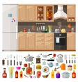 kitchen set of elements - utensils tools food vector image