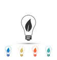 light bulb with leaf icon on white background vector image vector image