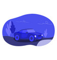 lonely blue colored car on an empty night road vector image