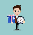 man holding a gift box and a clock vector image