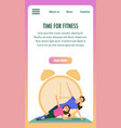 mother and daughter engaged fitness sport training vector image