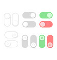 on and off toggle switch buttons set flat style vector image