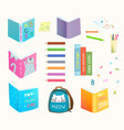 open and closed books clip art collection color vector image