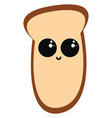 piece bread on white background vector image vector image