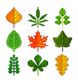 pixel leaves for games icons set vector image vector image