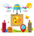 pizza delivery drone flat style colorful vector image vector image