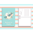 postcard invitation template with cute unicorn vector image