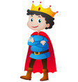 prince with red cape and crown vector image vector image
