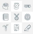 school icons line style set with medal self study vector image vector image