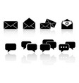 set communication reflection icons vector image vector image