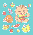 set of color sketch stickers vector image