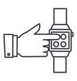smart watchhand touching watch line icon vector image