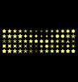 star silhouette icons yellow ranking stars and vector image