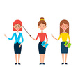 Three Women Teacher Characters vector image vector image