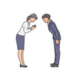 two people bowing and greeting each other before vector image