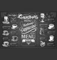 vintage chalk drawing christmas menu design vector image vector image