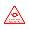 warning hurricane road sign vector image