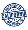 welcome to california blue stamp vector image vector image