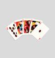 winning poker hand combination hearts royal flush vector image