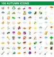 100 autumn icons set cartoon style vector image vector image